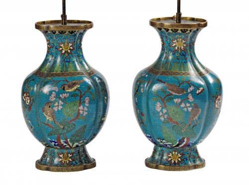A pair of Chinese cloisonne vases 19th century