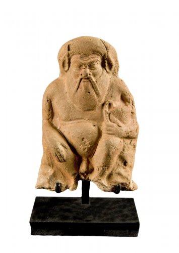 Greek statuette in terracotta representing a Silenus