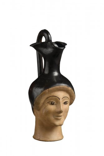 Attic woman head oinochoe by the London Class, type G. c. 470-460 B.C.