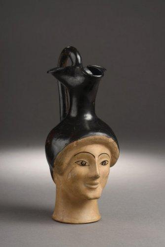 Attic woman head oinochoe by the London Class, type G. c. 470-460 B.C. - Ancient Art & Antiquities Style