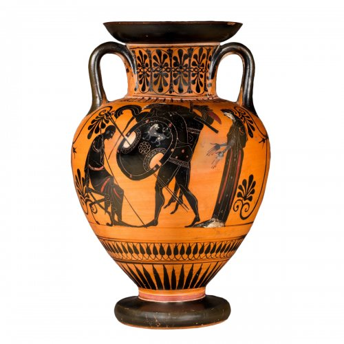 Attic black figured neck amphora, circa 520 BC