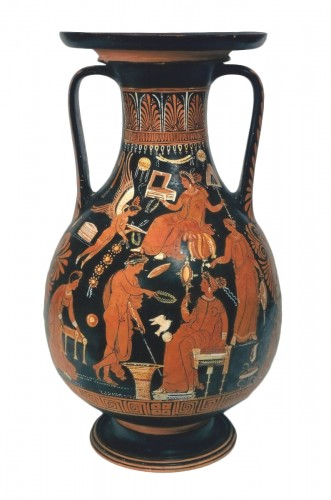 Apulian red figured pelike attributed to the Underworld Painter, c. 340 B.C