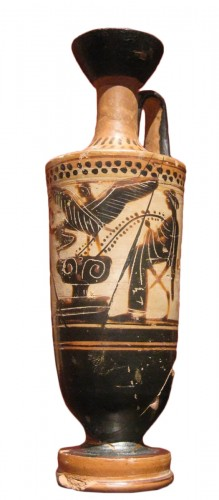 Attic black-figure, white-painted lekythos attributed to the Beldam Painter