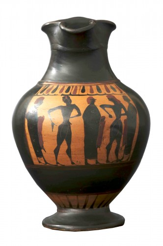 Attic black-figure oinochoe from the circle of Lydos that belonged to Rachel