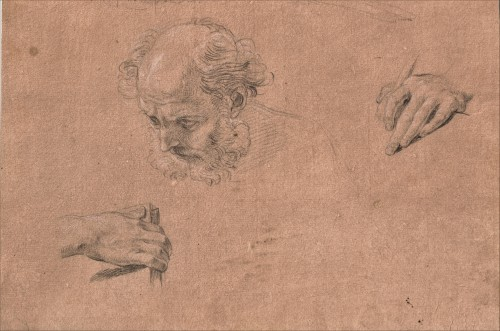 Pompeo BATONI (Lucca, 1708 - Rome, 1787) - Study of head and hands for Saint Peter