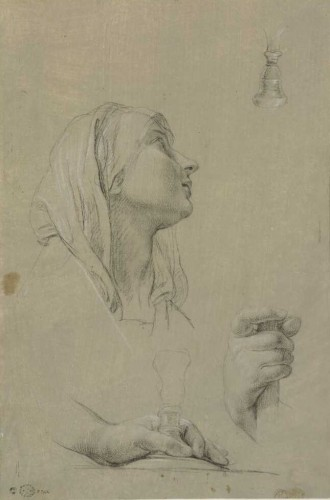 Paintings & Drawings  - Pompeo BATONI (Lucca, 1708 - Rome, 1787) - Study of head and hands for Saint Peter