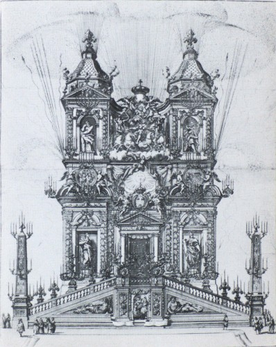 Simone Felice DELINO (1655-1697) - Project of the ephemeral facade of Trinité des Monts - Paintings & Drawings Style Louis XIV