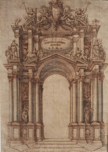 Carlo RAINALDI (Rome, 1611 - 1691) - Project of the triumphal arch of Clement IX