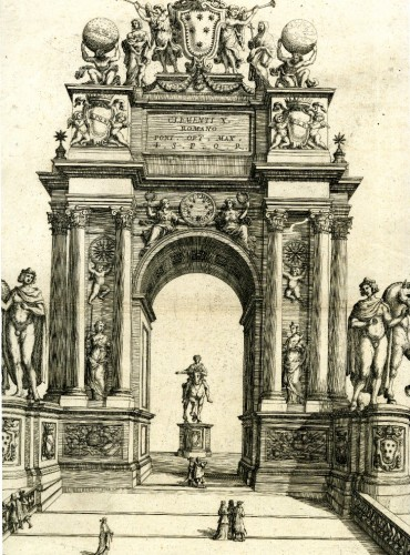 Paintings & Drawings  - Carlo RAINALDI (Rome, 1611 - 1691) - Project of the triumphal arch of Clement IX