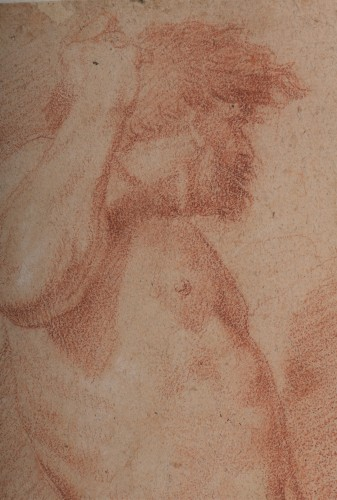 Andrea SACCHI and workshop (Nettuno, 1599 - Rome 1661) - study of Vulcan or Cyclops man - Paintings & Drawings Style Louis XIV