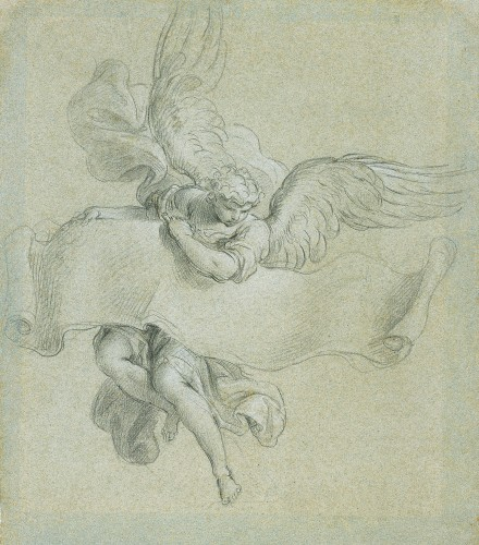 Stefano POZZI (Rome, 1699 - 1768) - Angel carrying a phylactery, 1746