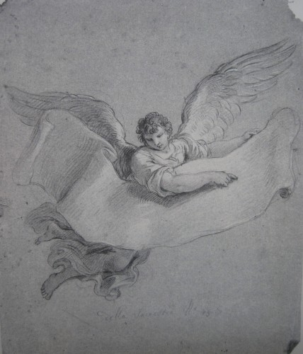 Stefano POZZI (Rome, 1699 - 1768) - Angel carrying a phylactery, 1746 -