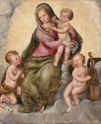 LIVIO AGRESTI (Forli 1505 - Rome, 1579) - The Virgin and Child, Saint John and an Angel