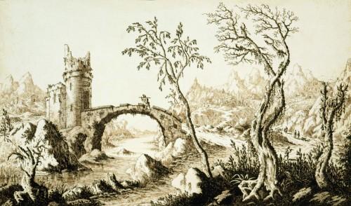 Francesco BOSIO (Bologna, 1725 - 1756) - Lake Landscape - Paintings & Drawings Style Louis XV