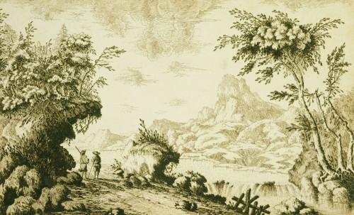 Paintings & Drawings  - Francesco BOSIO (Bologna, 1725 - 1756) - Lake Landscape
