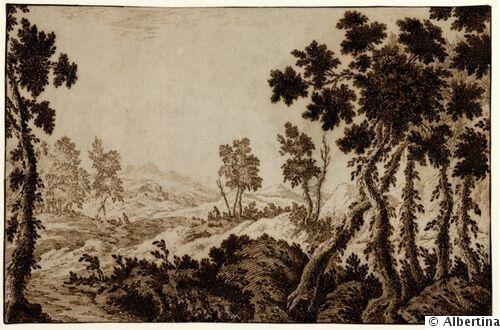 18th century - Francesco BOSIO (Bologna, 1725 - 1756) - Lake Landscape