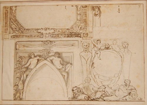 Paintings & Drawings  - Giovanni Francesco GRIMALDI (1606 - 1680) - Project for the interior decoration of Roman palaces