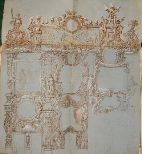 17th century - Giovanni Francesco GRIMALDI (1606 - 1680) - Project for the interior decoration of Roman palaces