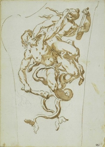 Sebastiano GALEOTTI (1675 - 1741) - Fight of newts - Paintings & Drawings Style Louis XIV