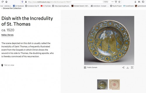 Porcelain & Faience  - Ceremonial dish in lustrous earthenware from Deruta, 1st third of the 16th century