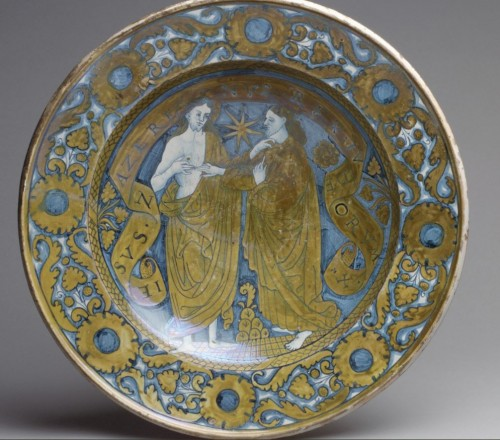 Ceremonial dish in lustrous earthenware from Deruta, 1st third of the 16th century -