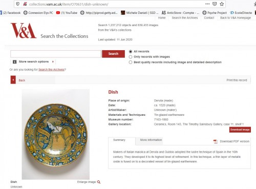 <= 16th century - Ceremonial dish in lustrous earthenware from Deruta, 1st third of the 16th century