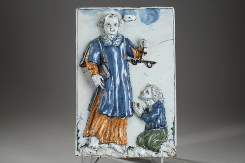 Nevers - Large tile with Saint Leonard Palette period, 17th century - Porcelain & Faience Style Louis XIV