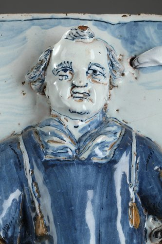Porcelain & Faience  - Nevers - Large tile with Saint Leonard Palette period, 17th century