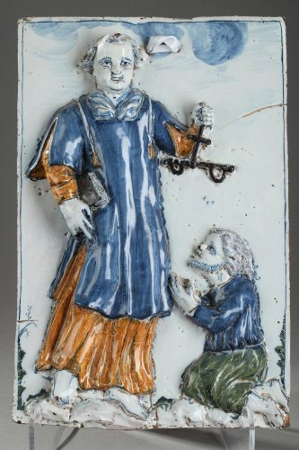 17th century - Nevers - Large tile with Saint Leonard Palette period, 17th century