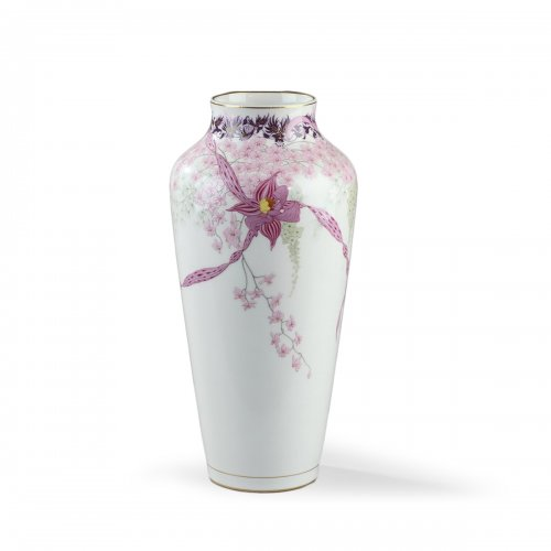 Sèvres - Vase decorated with orchids, rubans and whisterias. Dated 1912