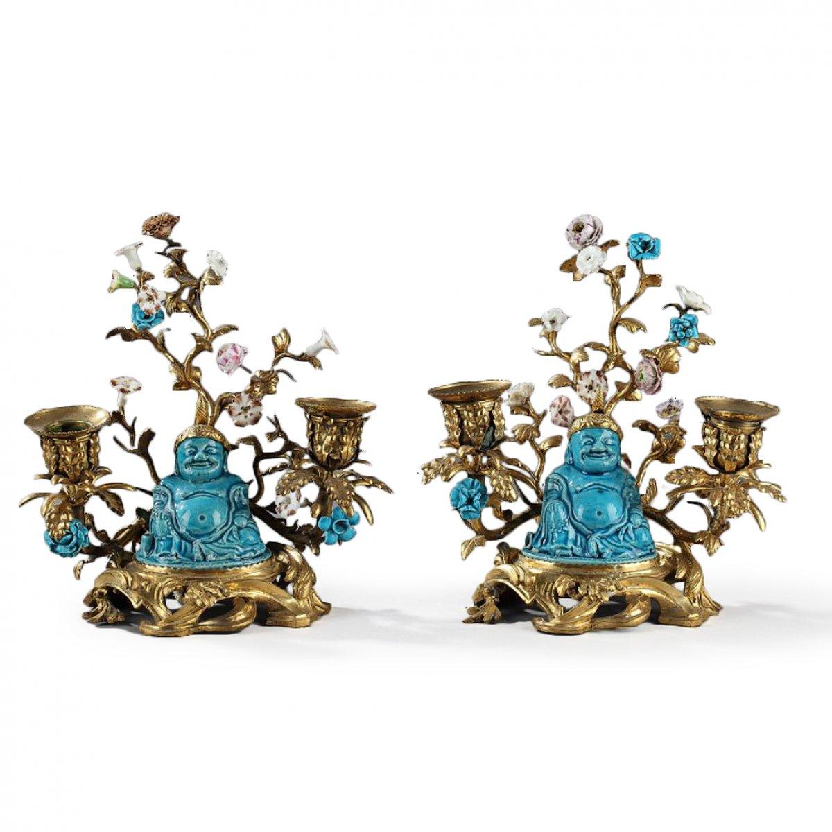 Paris Porcelain Art Nouveau Period Lamp Chinese Taste: Chinese Buddhais KANGXI Period (1662