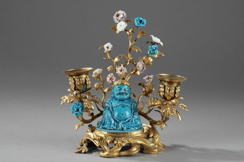 Chinese Buddhais KANGXI Period (1662 - 1722  with french ormulu, Louis XV -