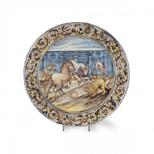 Large faïence dish Italy, Castelli, rancesco GRUE studio. 17th century