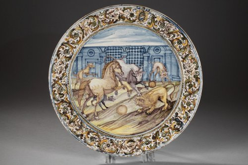 Large faïence dish Italy, Castelli, rancesco GRUE studio. 17th century -