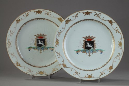 Pair of porcelain armorial dish, China circa 1745 -