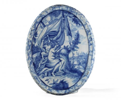 Large oval faïence plaque, Amsterdam begining of 18th century
