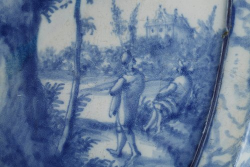 Porcelain & Faience  - Large oval faïence plaque, Amsterdam begining of 18th century