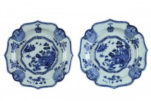 Two armorial dishes, China export ware circa 1750