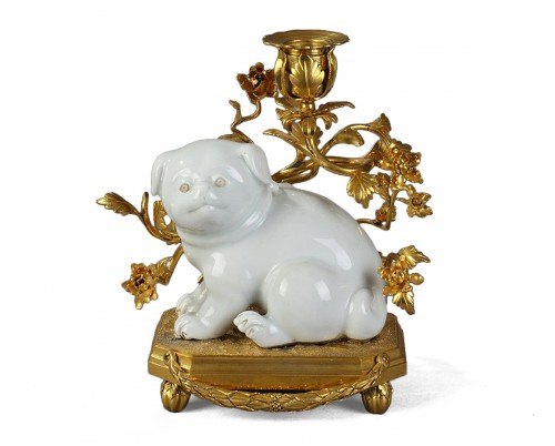 JAPAN HIRADO : Dog with french ormolu , 19th century