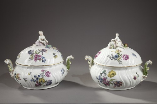 Antiquités - Pair of terrines Meissen circa 1750