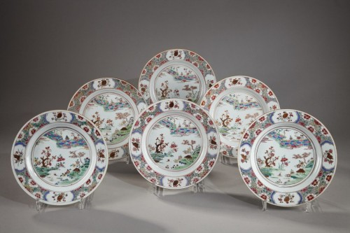 Set of six export ware plates, China Circa 1735 - Porcelain & Faience Style