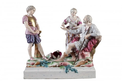 Faience group depicting Le Belisaire. Niderviller Mid 18th century