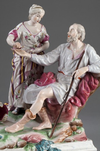 Faience group depicting Le Belisaire. Niderviller Mid 18th century -
