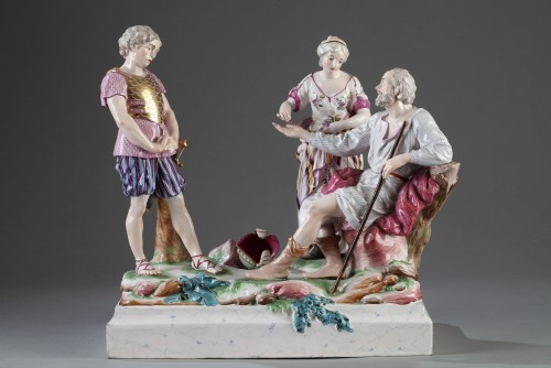 - Faience group depicting Le Belisaire. Niderviller Mid 18th century