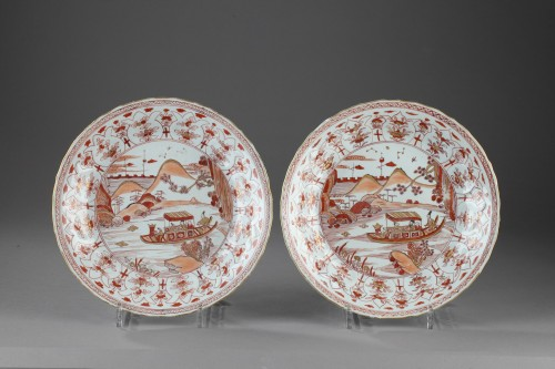 - Two dishes decorated in rouge de fer. China Kangxi (1662 - 1722)