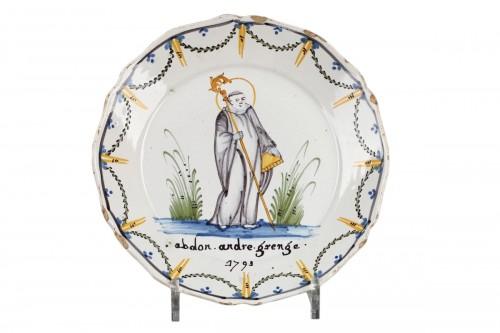 Patronymic Nevers eathernware plate, circa 1793