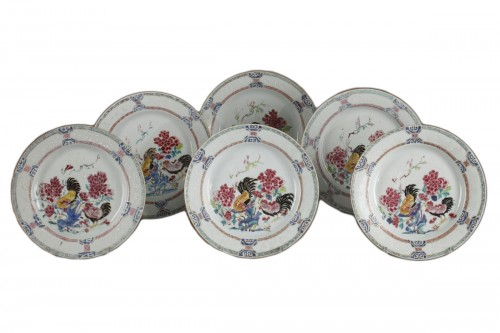 Set of six famille rose plates Qianlong (1736 - 1795)