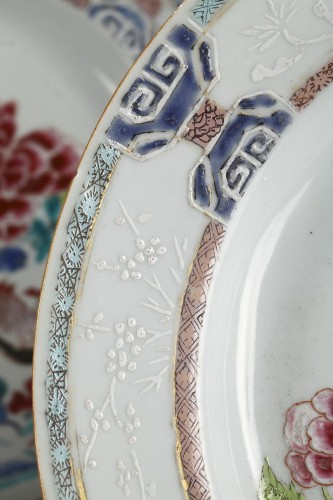Set of six famille rose plates Qianlong (1736 - 1795) -