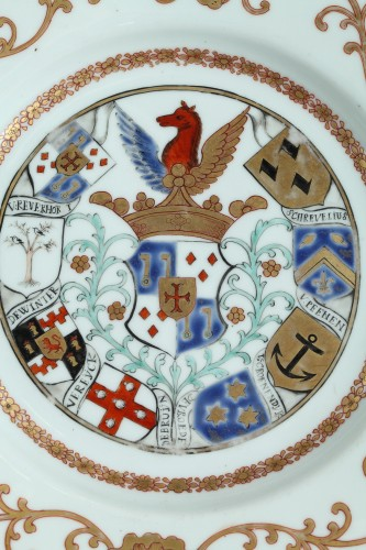 Porcelain & Faience  - Chinaarmorial plate Van Reverhorst family Circa 1745