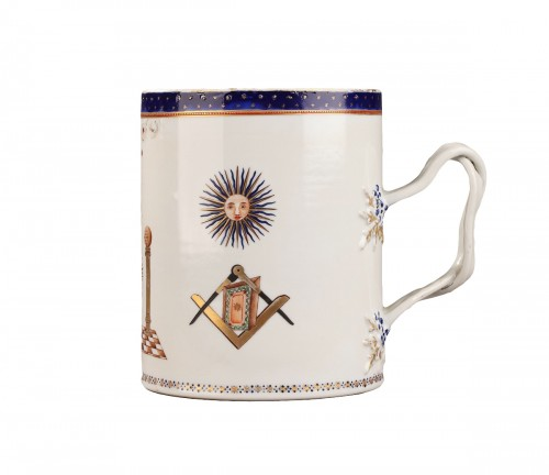 18th century Masonic china mug decorated for an English Loge.